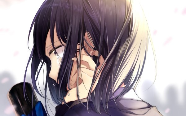 Anime Original Black Hair Short Hair Tears HD Wallpaper | Background Image