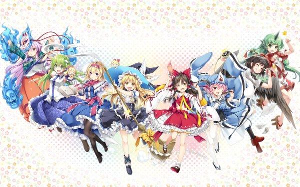 Anime Touhou Reimu Hakurei Alice Margatroid Marisa Kirisame Hata no Kokoro Sanae Kochiya Aunn Komano Yuyuko Saigyouji Aya Shameimaru Shanghai HD Wallpaper | Background Image