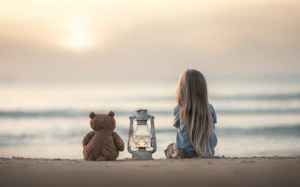Photography Child Little Girl Long Hair Blonde Lantern Beach Depth Of Field Stuffed Animal Teddy Bear HD Wallpaper | Background Image