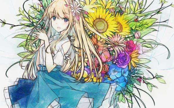 Anime Original Long Hair Rubia Flor Girasol Blue Eyes Purple Eyes Rosa Smile Tulipán Fondo de pantalla HD | Fondo de Escritorio