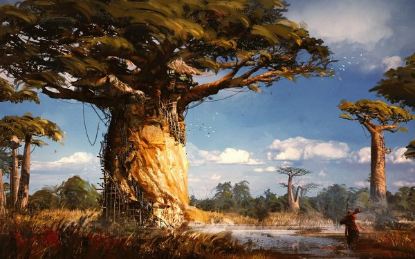 Fantasy House Man River Treehouse HD Wallpaper | Background Image