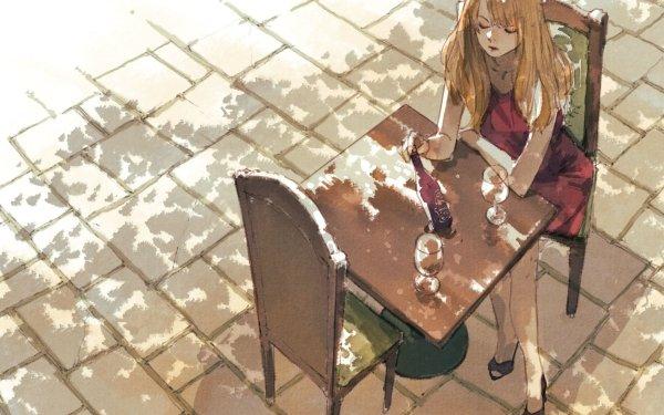 Anime Original Long Hair Wine Glass Girl Chair Terrace Blonde HD Wallpaper | Background Image