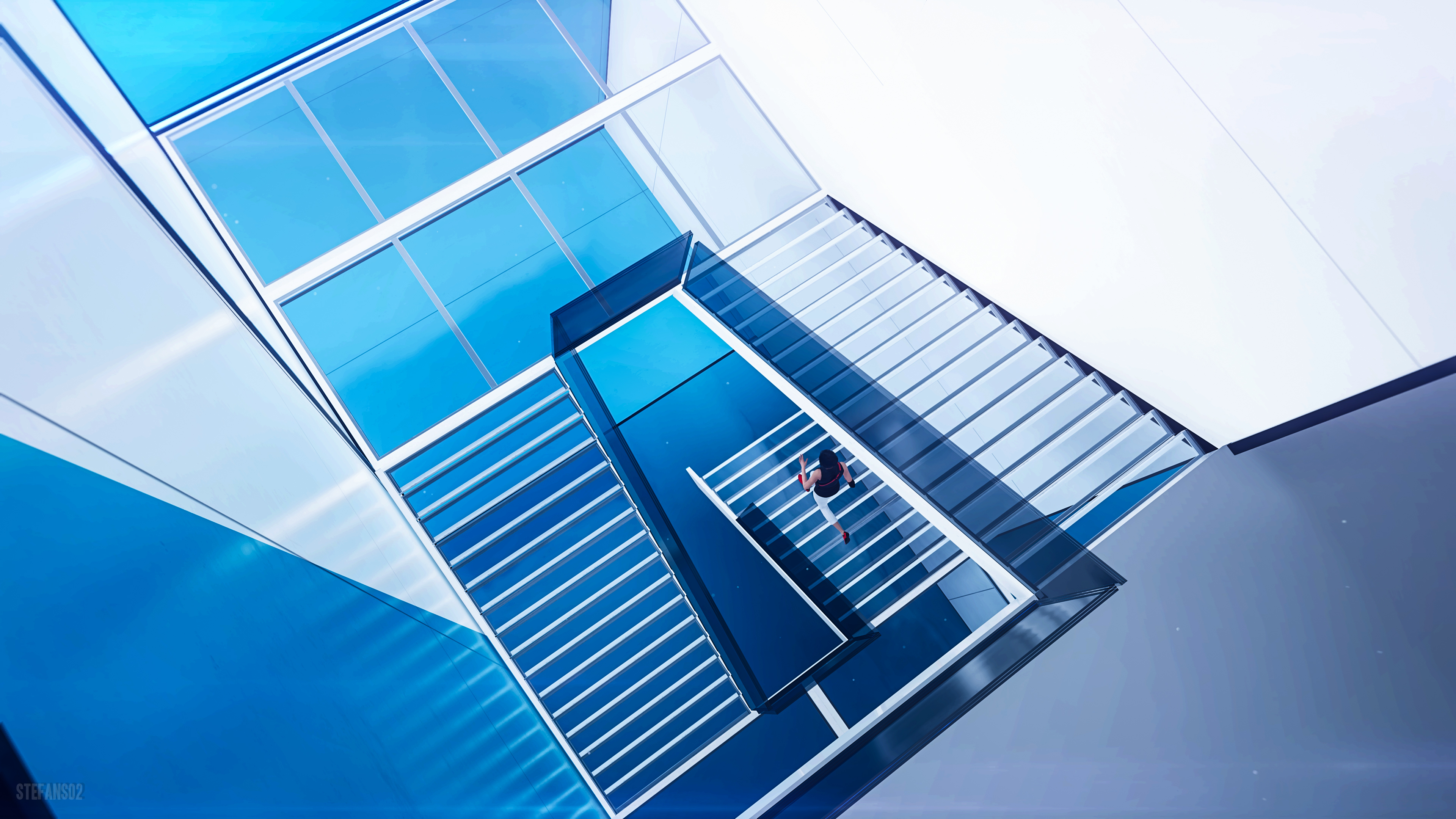 Mirror S Edge Catalyst Stairs 4k Ultra Hd Wallpaper Background