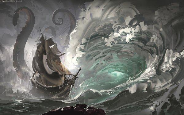 Fantasy Ship Wave Sea Monster HD Wallpaper   Background Image