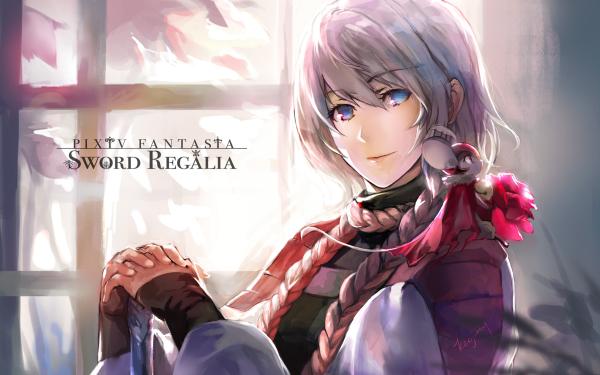 Anime Pixiv Fantasia Sword Regalia Long Hair Braid Mouse Flower Blue Eyes HD Wallpaper | Background Image