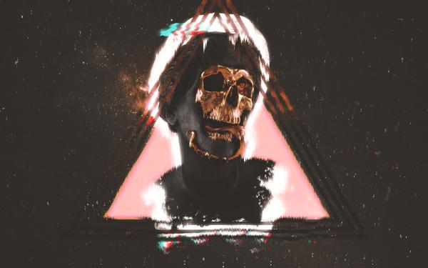 Dark Skull Vaporwave Statue HD Wallpaper   Background Image