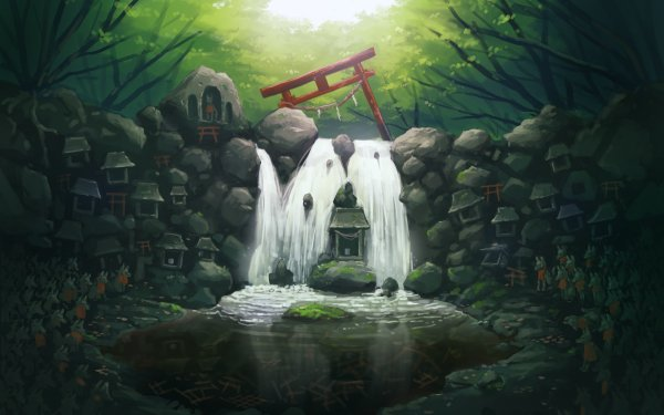 Fantasy Oriental River Nature Waterfall HD Wallpaper   Background Image