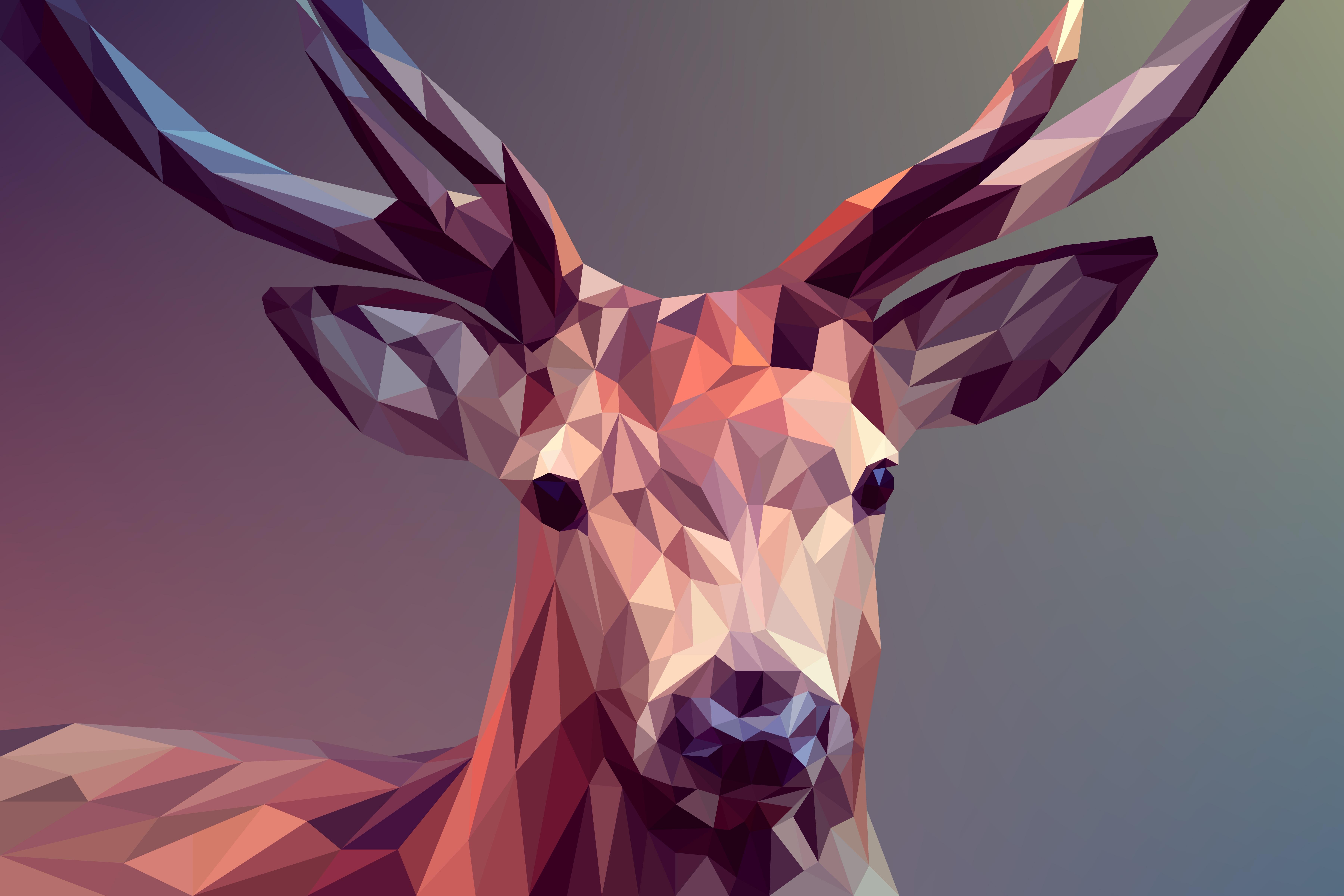Low Poly Deer Wallpaper 5k Retina Ultra Fondo De Pantalla Hd