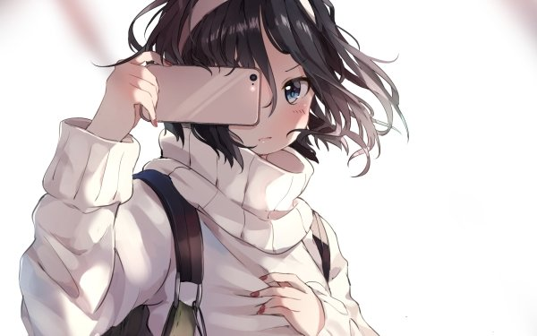 Anime Original Short Hair Black Hair Headband Smartphone Blue Eyes HD Wallpaper | Background Image