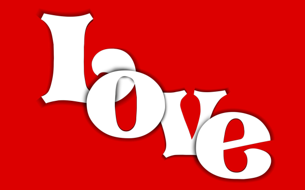 Artistic Love Red Valentine's Day Word Card HD Wallpaper | Background Image
