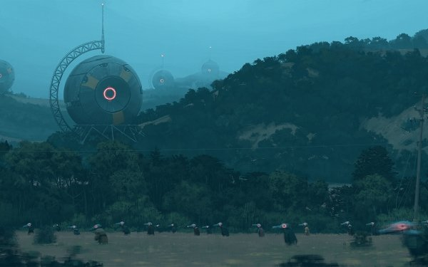 Sci Fi Landscape Building People HD Wallpaper | Background Image