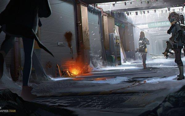 Anime Original Snow Gun Short Hair Bag HD Wallpaper | Background Image