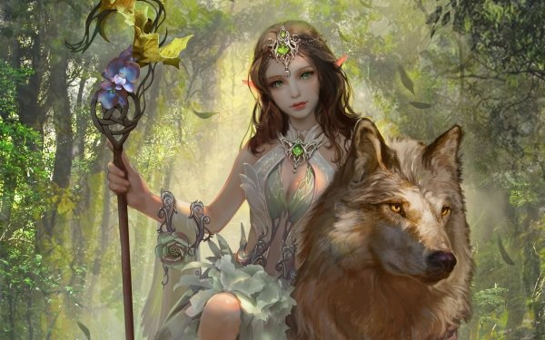 Fantasy Elf Wolf Staff Brown Hair Green Eyes HD Wallpaper | Background Image