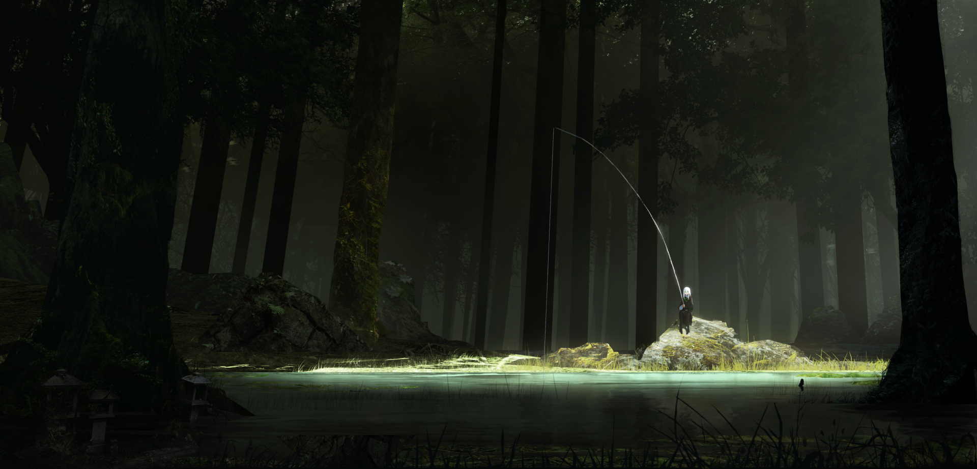 Anime - Original  Fishing Rod Lake Forest Long Hair Wallpaper