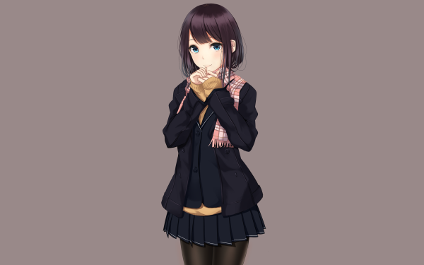 Anime Original School Uniform Black Hair Blue Eyes Smile Skirt HD Wallpaper   Background Image