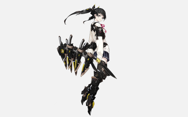 Anime Original Long Hair Black Hair Skirt Black Eyes Knife Twintails HD Wallpaper   Background Image