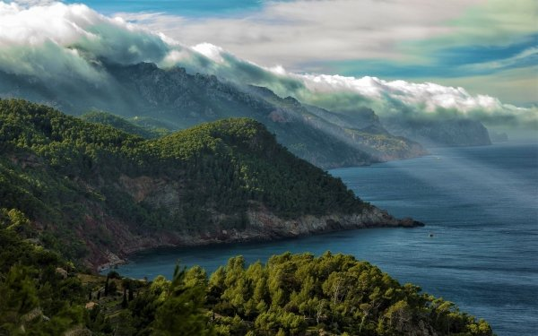Earth Coastline Mallorca Spain Coast Landscape Forest Mountain HD Wallpaper | Background Image