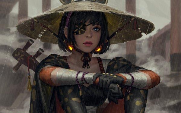 Fantasy Women Woman Asian Conical Hat Rain Blue Eyes Eye Patch Oriental Short Hair HD Wallpaper | Background Image