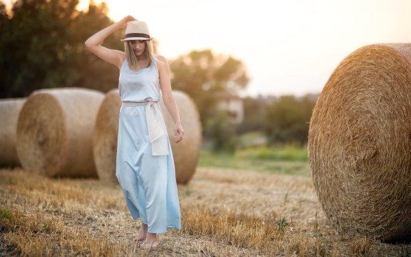 Women Mood Model Haystack Dress Blonde Depth Of Field HD Wallpaper   Background Image