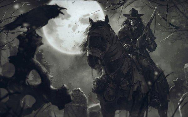 Dark Men Skull Night Horse Rifle Crow Moon Hat Cowboy HD Wallpaper | Background Image