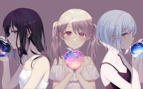 Anime Original Apple Black Hair Long Hair Short Hair White Dress White Hair Pink Eyes Twintails Blue Hair Blue Eyes HD Wallpaper | Background Image