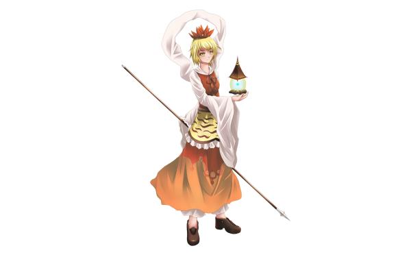 Anime Touhou Shou Toramaru Lamp Blonde Yellow Eyes Staff HD Wallpaper | Background Image