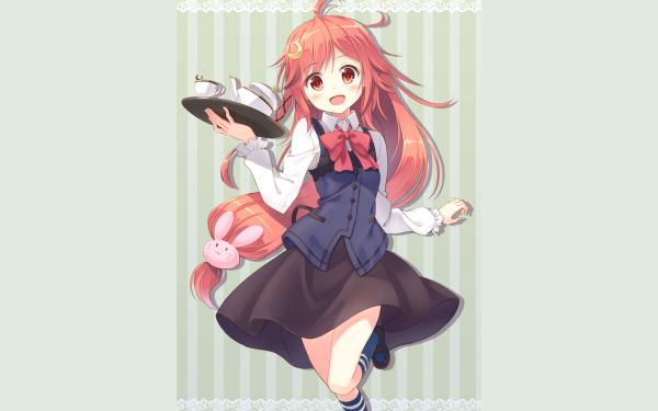 Anime Kantai Collection Uzuki Orange Hair Orange Eyes Smile Tea Cup Skirt HD Wallpaper   Background Image