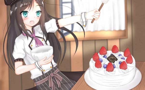 Anime Original Cake Girl Cooking Brown Hair Long Hair Green Eyes HD Wallpaper | Background Image