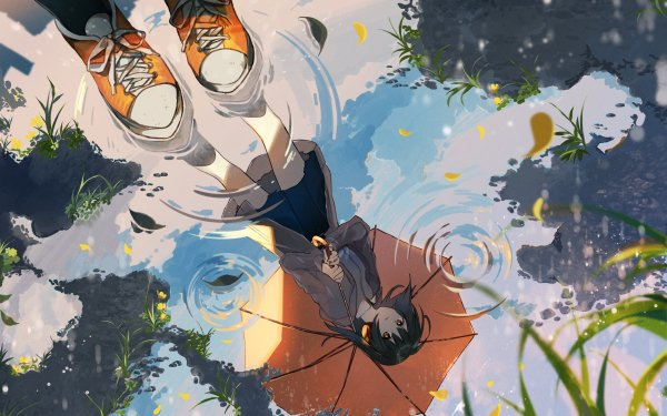 Anime Urbild Umbrella Black Hair Long Hair Hörlurar Orange Eyes Reflection HD Wallpaper | Background Image