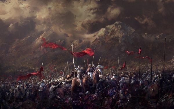 Fantasy Battle Warrior Horse Banner HD Wallpaper | Background Image