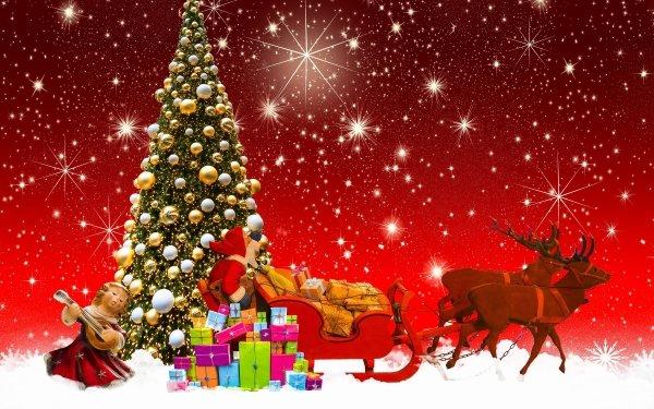 Holiday Christmas Christmas Tree Santa Sled Reindeer Gift Figurine Snow Stars HD Wallpaper   Background Image