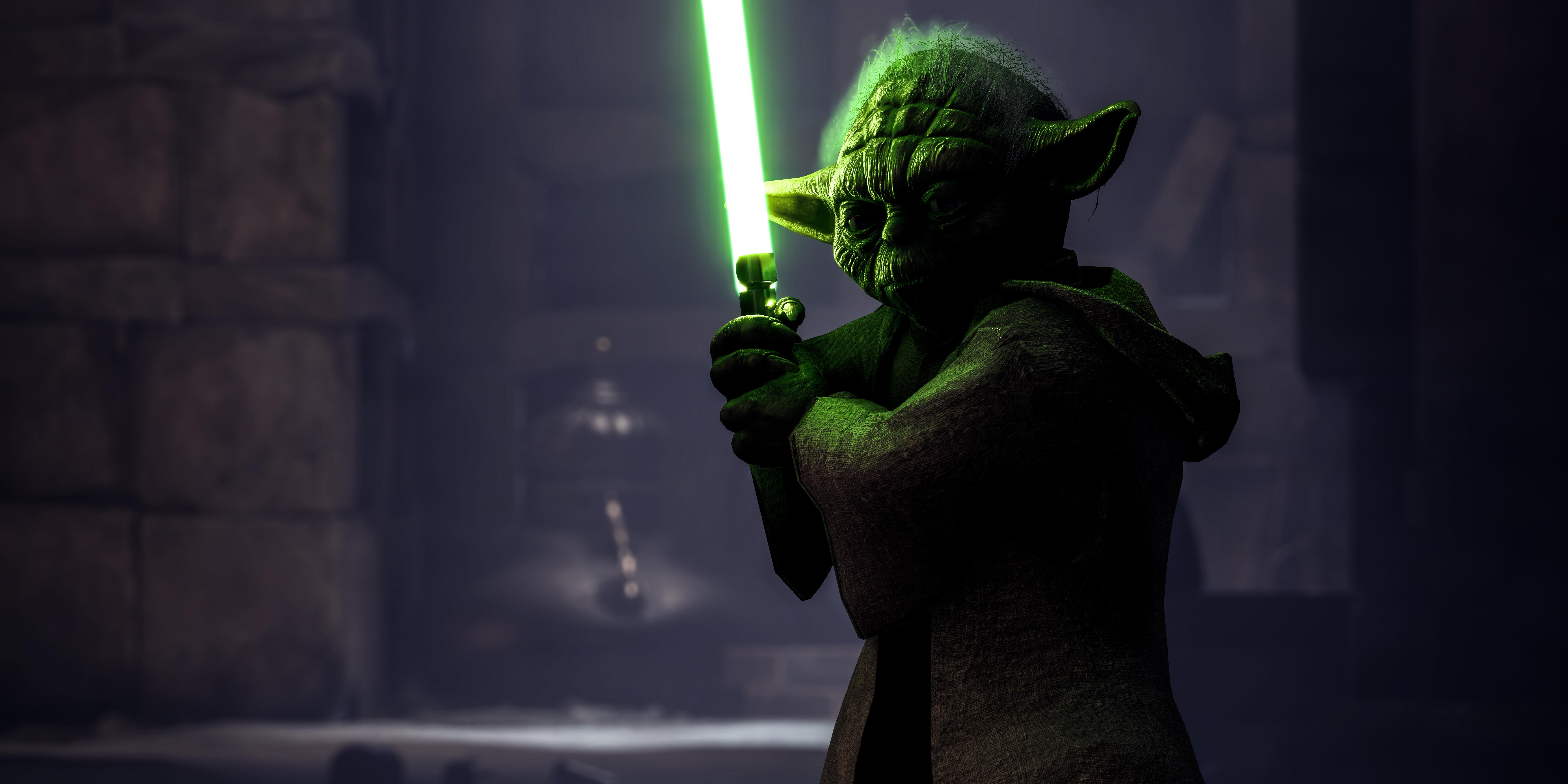 Star Wars Battlefront Ii Yoda 4k Ultra Hd Wallpaper Background Image 7000x3500