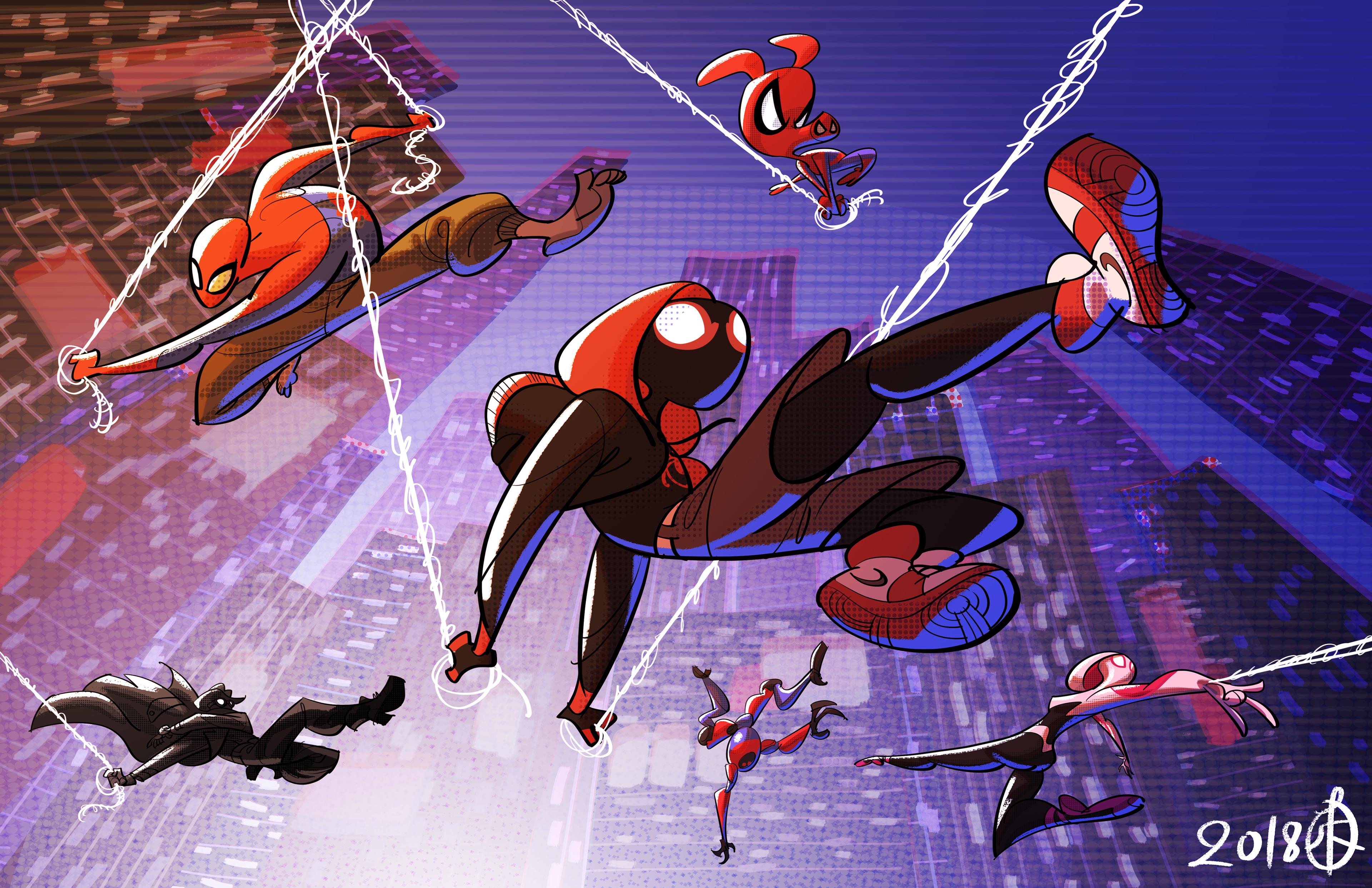 Spider Man Un Nuevo Universo 4k Ultra Fondo De Pantalla Hd Fondo