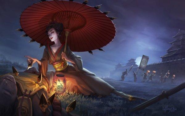 Fantasy Oriental Umbrella Lantern Castle Geisha HD Wallpaper | Background Image