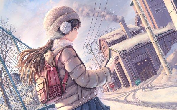 Anime Original Long Hair Black Hair Blue Eyes Hat Bag Snow Pig HD Wallpaper | Background Image
