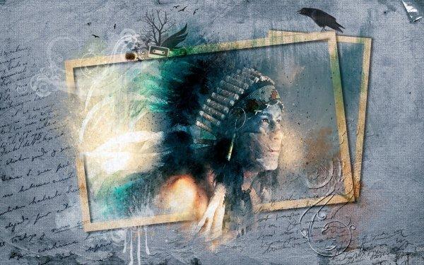 Artistic Native American Frame Man HD Wallpaper | Background Image