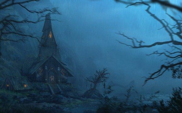 Dark House Night Rain HD Wallpaper | Background Image