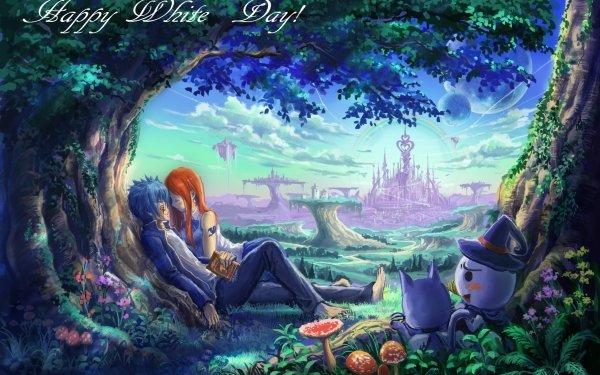 Anime Fairy Tail Jellal Fernandes Erza Scarlet Happy Plue Fond d'écran HD | Image