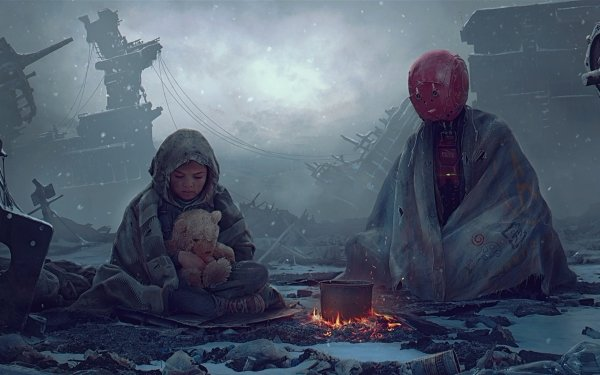 Sci Fi Post Apocalyptic Teddy Bear Child Girl Robot HD Wallpaper | Background Image