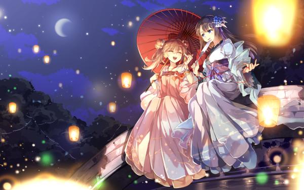 Anime Original Friend Lantern Light Night Moon HD Wallpaper | Background Image