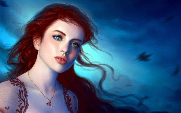 Fantasy Women Red Hair Green Eyes HD Wallpaper | Background Image