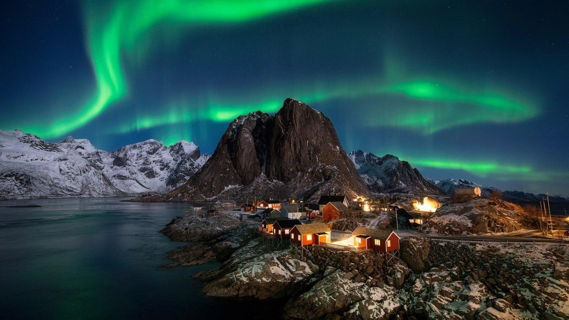 Polar Lights Over Lofoten Norway Hd Wallpaper Background Image 1920x1080 Id 997627 Wallpaper Abyss
