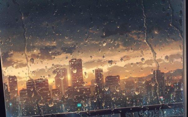 Anime City Sunset Rain HD Wallpaper | Background Image